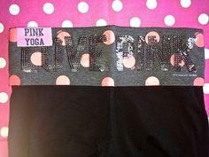 New Victoria's Secret Pink Black Orange Bling Sequin Yoga Crop Cut Pant XS | eBay
