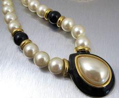 Vintage Napier Pearl Necklace Black Enamel 25 by TonettesTreasures