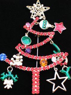 "PRONG SET JOY TEDDY BEAR ORNAMENT STAR CHRISTMAS TREE PIN BROOCH 4.25"" DANGLE #2 #Unbranded #PINBROOCH"