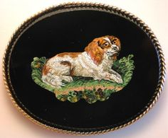 Antique Italian Micromosaic Brooch Spaniel Dog from the late 19th century   eBay