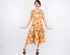 50s Orange Flowered Cotton Dress Orange by GlennasVintageShop