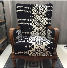 blue roof cabin: Black, White, Wool and Tweed Chair