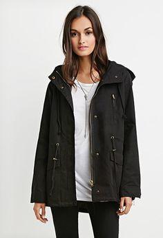 Hooded Drawstring Utility Jacket | Forever 21 - 2000184541