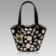 2015 Collection! New arrival from Italy! Valentino Orlandi Designer Black Embroidered Leather Purse Bucket Bag