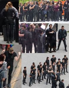 Four, Tris, Molly, Al, Will, Peter, Christina, and Edward. This photo set features the main cast! Shailene Woodley in both pics on the left, then Ben Lloyd-Hughes (Will) in the middle of the three small photos, then the whole group of Dauntless initiates!