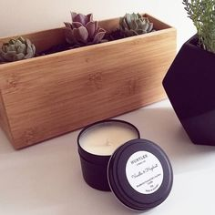 Enjoy these creamy nutty goodness in a tin. There are only 3 Vanilla & Hazelnut candles available. Australian Gifts, Candle Box, Handmade Candles, Rustic Modern, Wax Melts, Candle Making, Soy Candles, Vanilla, Interior Decorating