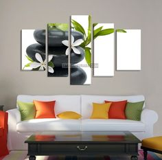 LARGE CANVAS Wall Art - White Lotus Flower on Black Zen Stone Art Canvas Print - Large Size Canvas - Wall Art Flower 5 Panel Canvas