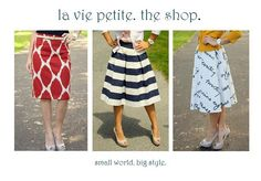 Must find some fabric to make a skirt like the red/white one on the left // la vie petite (via freckles in april)