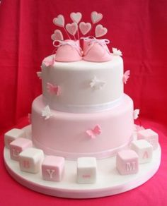 For a Valentine's Day Baby Shower: Baby Shoes & Hearts Cake Torta Baby Shower, Shower Baby, Baby Showers, Baby Shower Cupcakes For Girls, Girl Cupcakes, Chocolate Birthday Cake Decoration, Christening Cake Girls, Decoration Patisserie, Gravity Cake