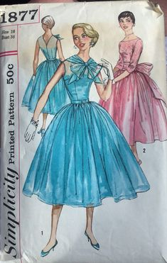 Simplicity 1877; © 1957; Misses Dress and Sash with Billowy Skirt ; Partially Used