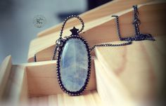 Shower of Stars Blue Moonstone Necklace 925 by hecatecrea on Etsy