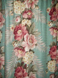 vintage+barkcloth+pair+curtains+aqua+pink+by+TheHumbleCottage,+$145.00