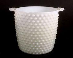 Vintage White Milk Glass Ice Bucket Hob-Nail by MysticLily on Etsy