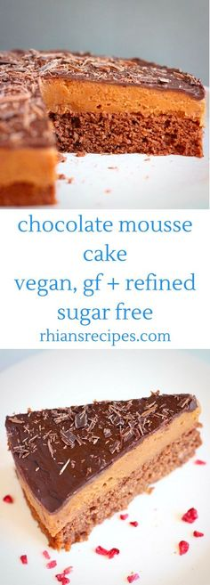 This Gluten-Free Vegan Chocolate Mousse Cake is the best secretly healthy yet seriously indulgent dessert. It's super chocolatey, rich and creamy and perfectly sweet! Includes a decadent sweet potato chocolate mousse and dark chocolate ganache. Refined sugar free.