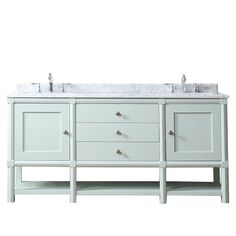 Martha Stewart Living Sutton 72 in. W x 22 in D Vanity in Rain Water with Marble Vanity Top in White/Grey with White Basins-SUTTON 72RW - The Home Depot