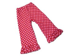 Juxby Kids Girls Dot Ruffle Pants 2t Red-Pink Dot Made in the USA. Adjustable Waist for Perfect Fit. 100% Cotton.  #Juxby #Apparel