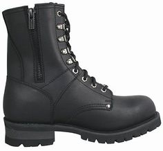 For Dave Real Leather Vigilant Logger Mens Motorcycle Boots Black Xelement Zipper New | eBay