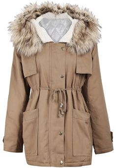 Khaki Fur Hooded Long Sleeve Drawstring Loose Outerwear US$47.54
