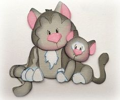 MOM AND BABY KITTY CAT PREMADE PAPER PIECING  3D DIE CUT MYTB KIRA  #Handmade