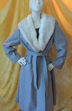 70s Belted Princess Coat/White Fur Collar/Very Full Coat Skirt/Vintage 1970s YouthCraft/Blue Grey Wool/70s