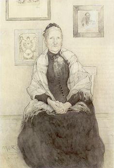 Carl Larsson, Portrait of his Mother 1893