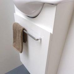 Petit lave mains Solo 20 cm vasque brillante avec meuble rangement Solid Surface, Lave Main Design, Towel, Door Handle, Hands, Towels