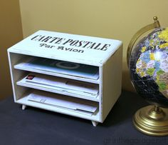 How to turn an old jewelry box into a mail organizer station - Trash to Treasure Tuesday.  girlinthegarage.net