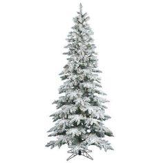 7.5ft Christmas Trees Decorations Vintage Snow Flocked Lighted Base Prelit Green