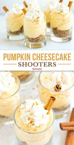 A simple yet luscious no-bake dessert, Pumpkin Cheesecake Shooters are perfect for parties, bake sales, and cozy fall evenings with your family. Mini Dessert Cups, Mini Desserts, Fall Desserts, Mini Dessert Shots, Cheesecake Shooters, Dessert Shooters, No Bake Pumpkin Cheesecake, Cheesecake Desserts, Raspberry Cheesecake