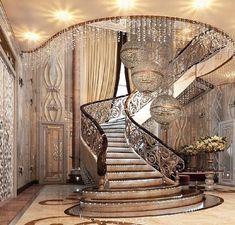 New House Plans Luxury Staircases 37 Ideas Luxury Staircase, Grand Staircase, Staircase Design, Classic Interior, Luxury Interior Design, Modern Mansion, Stairway To Heaven, Stairways, My Dream Home