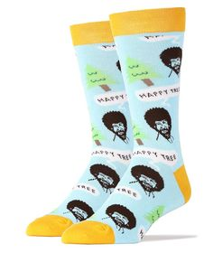Blue Bob Ross Happy Tree Socks (Men's)
