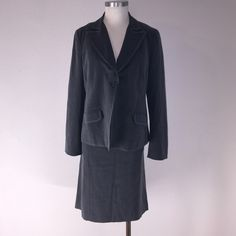 Motherhood Maternity skirt suit Fabulous grey pinstripe blazer and skirt set in fantastic condition. With lots of give in the skirt and a single button flounced blazer. Motherhood Maternity Jackets & Coats