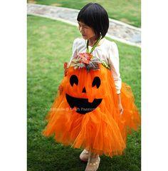 24 Great DIY Kids Halloween Costumes Ideas - Pumpkin Tutu Costume