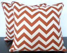 Rust orange chevron pillow case 18x18, burnt orange throw pillow cover, geometric pillow piping, orange cushion cover, rustic home decor