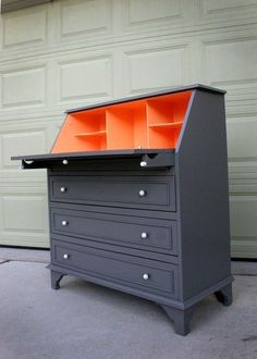 Idée relooking cuisine – Love use of unexpected colour! (nix crazy orange in leiu of green/most anythin… Paint Furniture, Furniture Projects, Furniture Making, Furniture Makeover, Home Projects, Orange Painted Furniture, Grey Kitchens, Kitchen Grey, Muebles Shabby Chic