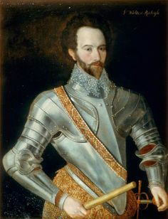 1595,  Sir Walter Raleigh (c.1552–1618), Soldier, Sailor, Poet and Writer.  British School,  Government Art Collection.