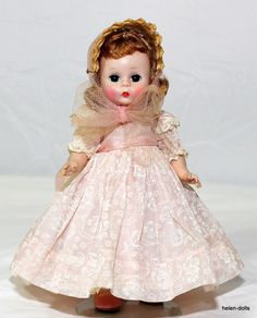"""1950's ALEXANDER-KINS BKW. 8"""" Alexander-kins - Blond Auburn Hair, T riple Stitched. Madame Alexander. Near Mint Condition - Dark Brown Eyes - High Face Color. Wearing Pink Dress with Embroidered Flowers - Pink with White Laced Panties.   eBay!"""
