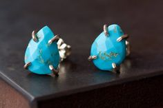 Faceted Blue Turquoise Stud Earrings in 14kt Gold - Alexis Russell Jewelry