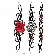 Only the best free Red And Black Gothic Rose Tattoo On Side tattoo's you can find online! Red And Black Gothic Rose Tattoo On Side tattoo's to print off and take to your tattoo artist. Tribal Tattoo Designs, Tribal Rose Tattoos, Black Rose Tattoos, Fake Tattoos, Trendy Tattoos, Body Art Tattoos, Tattoo Black, Wrist Tattoos, Tattoo Collection