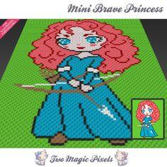 Mini Brave Princess crochet blanket pattern; knitting, cross stitch graph; pdf…