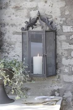 Ĭ Velas - Candles! Shades Of Grey, Candle Lanterns, Stone Cottage, Grey Stone, Candles, Lanterns, Candlelight, Lantern Lights, Grey Candle Holders