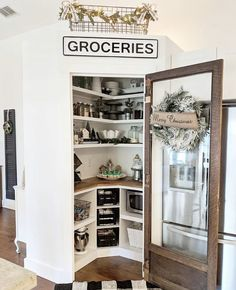 pantry shelving Farmhouse kitchen pantry with rustic wood glass door. Corner Kitchen Pantry, Cottage Kitchen Cabinets, Kitchen Pantry Design, Kitchen Decor, Corner Pantry Organization, Pantry Ideas, Corner Pantry Cabinet, Kitchen Ideas, Kitchen Cabinetry