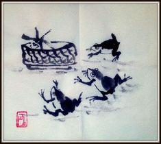 """""""Три квакушки""""  стиль се-и китайская тушь, бумага 20 х 23 см  В Китае лягушка символизирует инь, лунное начало, бессмертие, богатство и долголетие. Китайский миф о стрелке И его жене Чанъэ рассказывает о том, как выпив эликсир бессмертия, Чанъэ поселилась на луне, где превратилась в трехлапую лягушку. С тех пор она пребывает в лунном дворце и вечно толчет в ступе снадобье бессмертия (как и лунный заяц).  #китайская_живопись #Chinese_painting #Chinese_style #декор #art #decor #творчество"""