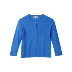 Featherweight Cashmere Cropped Cardigan -  Greek Blue