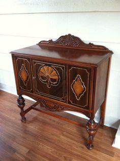 Servidor do vintage com dois tonificou Madeira - Dresser, Mobiliário, Mobiliário Vintage, Buffet, Aparador