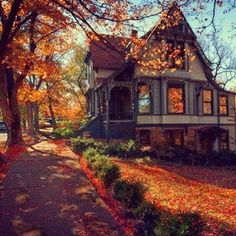 Victorian in autumn. I've always been a sucker for Victorian homes Beautiful Homes, Beautiful Places, Antebellum Homes, Autumn Aesthetic, Autumn Home, Autumn Fall, Autumn Leaves, Hello Autumn, Victorian Homes