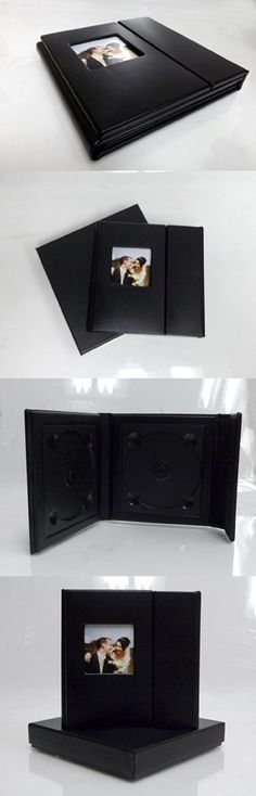 Wedding Story DVD/CD Case (Set of 2), Black, PU leather, Overlapping, Holds 2 Disc/1 photo
