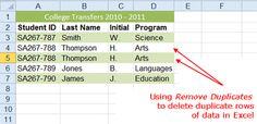 Remove Duplicates in Excel