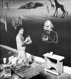 silfarione: Salvador Dali at work, finishing The Dream of Venus, Flushing, New York. 1939 World's Fair.