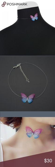 🦋New list!🦋 Delicate butterfly floating necklace This beautiful floating butterfly necklace has the appearance that just the butterfly is there. Elegant and beautiful. Has adjustment chain on the back to fit to your preference! Jewelry Necklaces